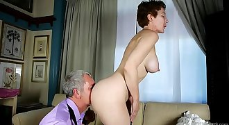 Super sexy old spunker sucks &amp_ fucks for a mouthful of cum