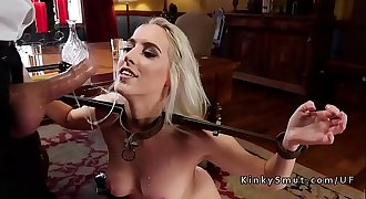 Two blonde stepsis sharing dick in restrain bondage