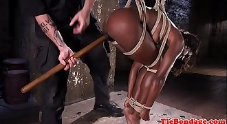 Submissive ebony disciplined with sextoys