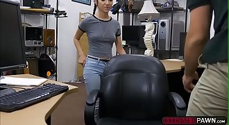 Kiley Jay fucks Shawns hard cock in the office for money