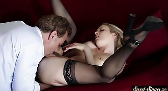 Stockinged stepdaughter gets spoon fucked
